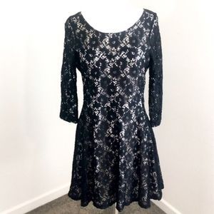Almost Famous Fit & Flare Black Lace Overlay Dress